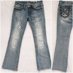 Miss me Irene Distressed Ripped Blue Jeans Size 29